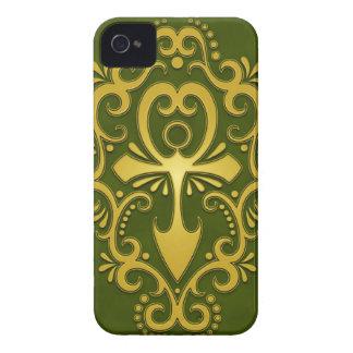 Golden Green Tribal Ankh iPhone 4 Case-Mate Case