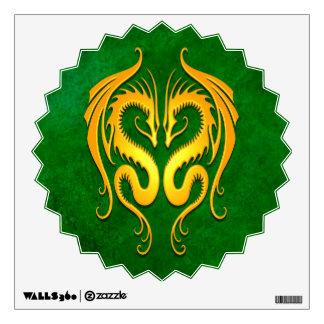 Golden Green Tribal Dragons Wall Decal