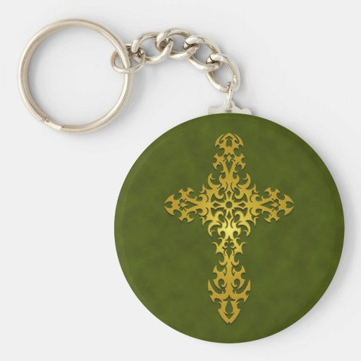 Golden Green Tribal Gothic Cross Key Chain