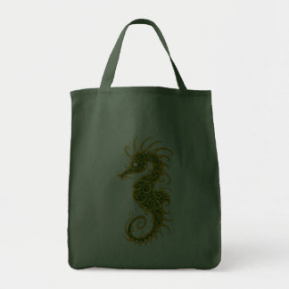 Golden Green Tribal Seahorse Tote Bag