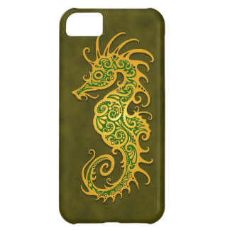 Golden Green Tribal Seahorse iPhone 5C Covers