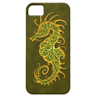 Golden Green Tribal Seahorse iPhone 5 Cases
