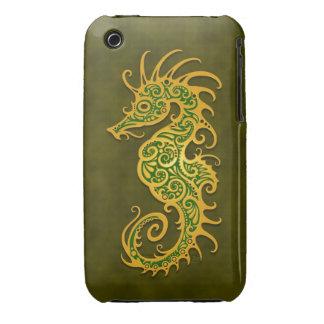 Golden Green Tribal Seahorse iPhone 3 Covers