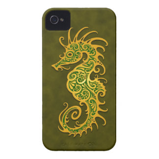 Golden Green Tribal Seahorse iPhone 4 Case-Mate Cases
