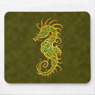 Golden Green Tribal Seahorse Mouse Pads