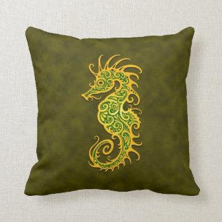 Golden Green Tribal Seahorse Pillow