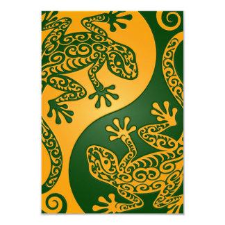 Golden Green Yin Yang Lizards Card