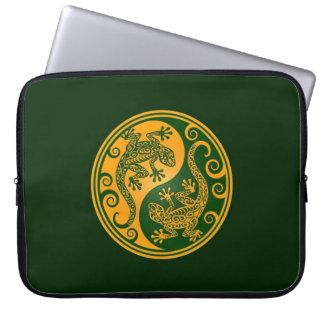 Golden Green Yin Yang Lizards Computer Sleeve