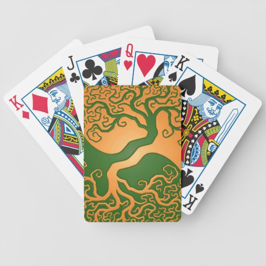 Golden Green Yin Yang Tree Bicycle Playing Cards