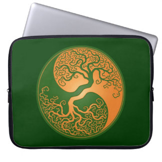Golden Green Yin Yang Tree Computer Sleeves