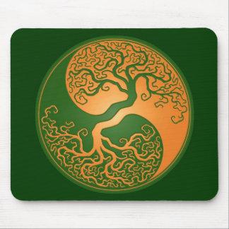 Golden Green Yin Yang Tree Mouse Pad