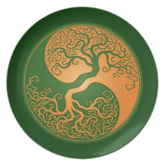 Golden Green Yin Yang Tree Party Plate