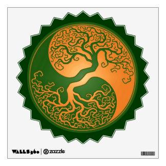 Golden Green Yin Yang Tree Wall Sticker