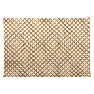 Golden grid pattern placemats