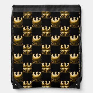 Golden Griffin or Eagle Pattern Drawstring Bag