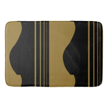 Beach Themed Golden Guitar Bathroom Mat