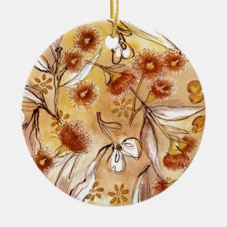 Golden gum flowers ceramic ornament