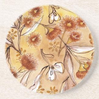 Golden gum flowers drink coaster