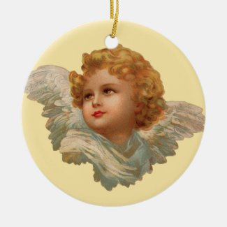 Golden Haired Cherub Collectible Holiday Ornament