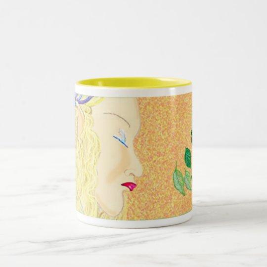 Golden haired elf Two-Tone coffee mug
