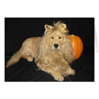 Golden Halloween Lion Blank Card