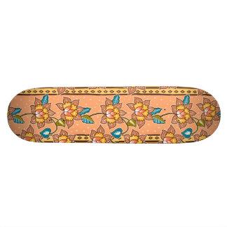 Golden Hand drawn decorative floral batik pattern Skateboard Deck