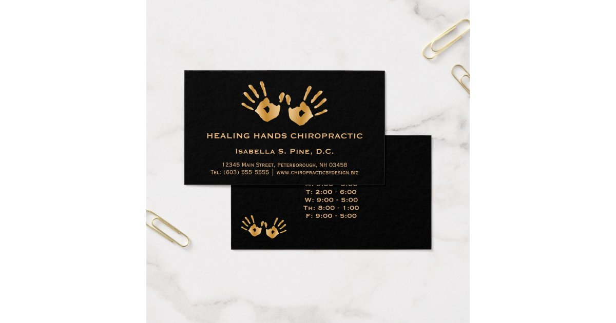 Golden Hand Prints Office Hours Chiropractor Business Card | Zazzle.com