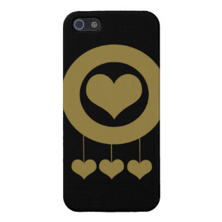Golden hanging hearts iPhone 5 cover