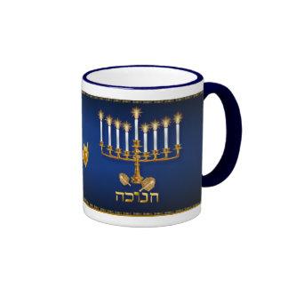 Golden Hanukkah Mugs