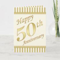 Golden Happy 50th Anniversary Card - Stripes