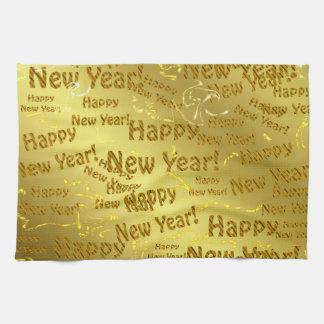 golden happy new years kitchen towel
