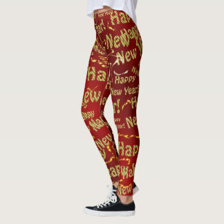golden happy new years text in red leggings