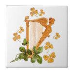 Golden Harp and Shamrocks Of Ireland Small Square Tile
