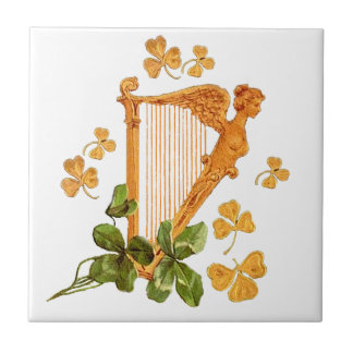 Golden Harp and Shamrocks Of Ireland Ceramic Tile