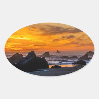 Golden Harris Beach Sunset - Oregon Oval Sticker
