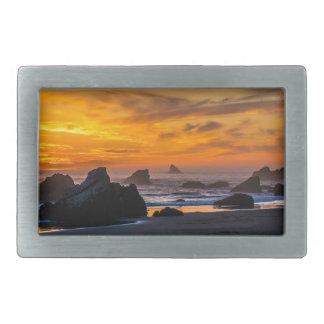 Golden Harris Beach Sunset - Oregon Rectangular Belt Buckle