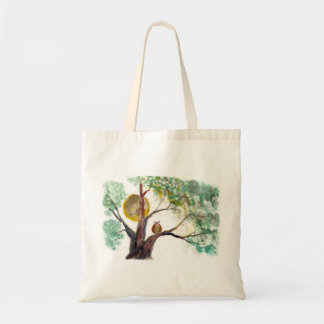 Golden Harvest Moon and Owl in Field Oak Tote Bag
