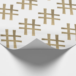 Golden Hashtag Wrapping Paper