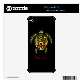 Golden Hawaiian Green Sea Turtle on Black iPhone 4S Decals