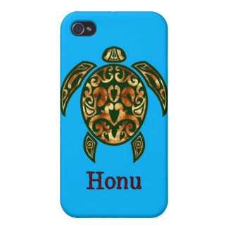Golden Hawaiian Green Sea Turtle on Ocean Blue iPhone 4/4S Covers