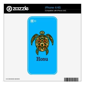 Golden Hawaiian Green Sea Turtle on Ocean Blue Skin For iPhone 4