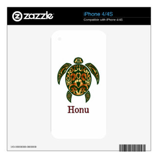 Golden Hawaiian Green Sea Turtle on White Decals For The iPhone 4S
