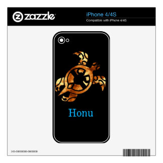 Golden Hawaiian Sea Turtle on Black Decals For The iPhone 4