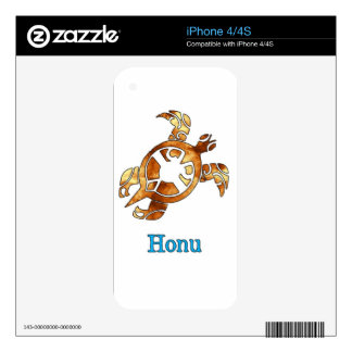 Golden Hawaiian Sea Turtle on White Decal For The iPhone 4