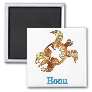 Golden Hawaiian Sea Turtle on White Magnet