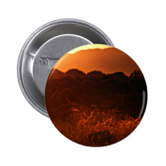 Golden haze at sunset illuminates cactus and grass 2 inch round button