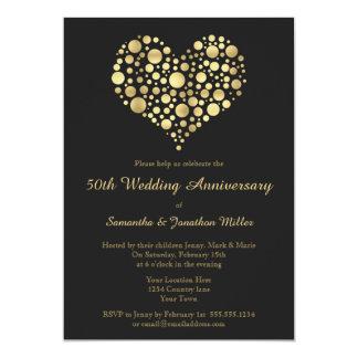 Golden Heart 50th Wedding Anniversary Gold Invite