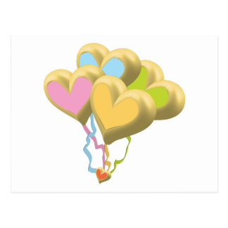Golden Heart balloons and ribbons theme Postcard