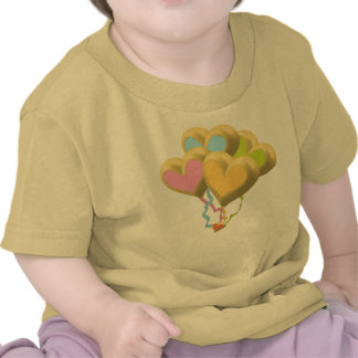 Golden Heart balloons and ribbons theme T-shirts