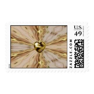 Golden Heart Burst Postage Stamp
